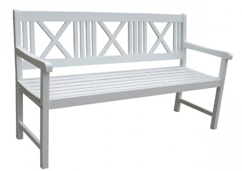 Gartenbank 3-Sitzer weiß lackiert Akazie FSC - Holz