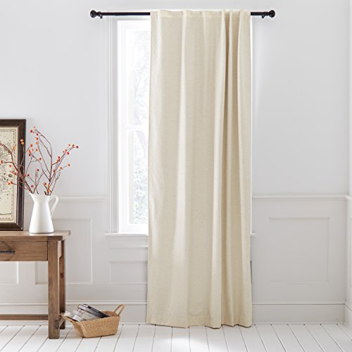 Cheap Stone & Beam Blackout Herringbone Linen Cotton Curtain, One Panel,  52″ x 96″, Back Tab, Linen