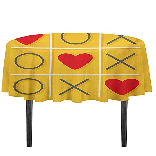 kangkaishi Love Washable Tablecloth Tic Tac Toe Game with XOXO Design Let Me Kiss You Valentines Romantic Illustration Desktop Protection pad D51.18 Inch Yellow -