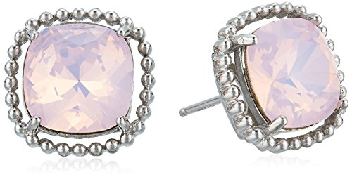 Rose Swarovski Crystal Silver Plated - Platinum Plated Sterling Silver Swarovski Crystal Round Rose Water Opalescent Stud Earrings