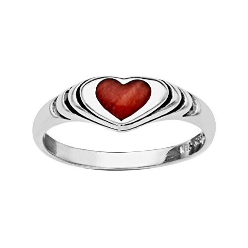 Kabana Spiny Oyster Red Mother of Pearl Heart Ring Size 7