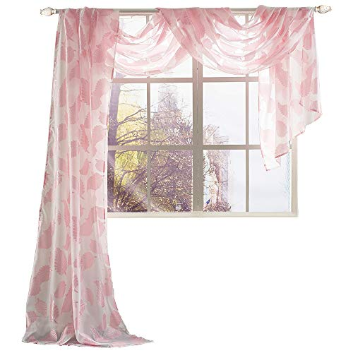 (KEQIAOSUOCAI Pink Leaf Embroidered Sheer Scarf Curtains for Baby Girls Room Sheer Window Scarf Valance,52 by 216 inches Long, 1 Panel)