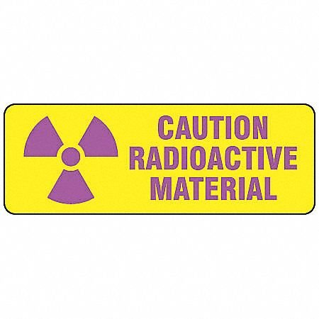 Brady 20111KLS Purple/Yellow Vinyl ''CAUTION RADIOACTIVE MATERIAL'' Sign, 3.5'' Height, 10'' Width (Pack of 10)