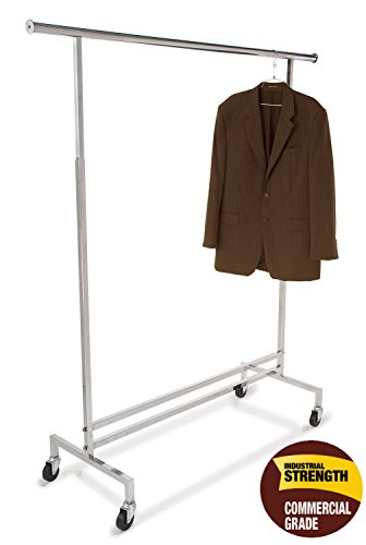 Only Garment Racks Commercial Grade, Heavy Duty Single Rail Adjustable Height Rolling Clothes Rack - Hangrail Height Adjustable from 54