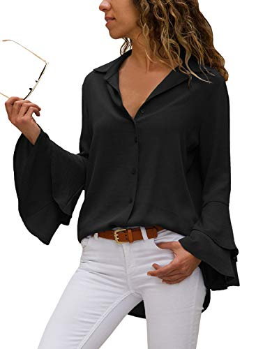 (LOSRLY Women Deep V Neck Front Button Button Down Long Flare Bell Sleeve Fashion Shirts Casual Blouses Tops Black S 4 6)