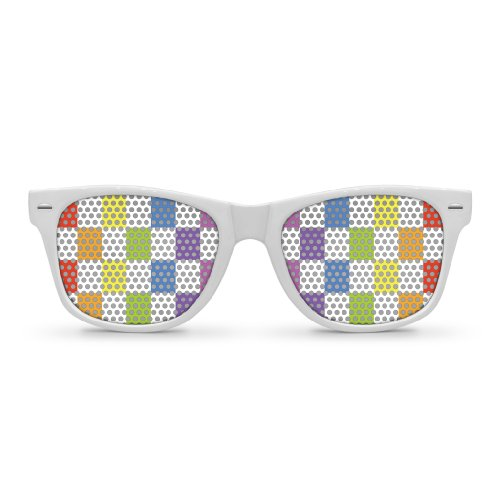 CHECKERBOARD White Retro Party - Checkerboard Sunglasses