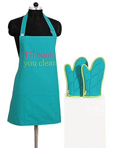Graphic Screen Print Apron & Oven Mitt Set - 100% Cotton - Kitchen Gifts for Women Turquoise Blue (Pink Gift Set Apron)