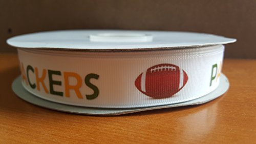 Football Themed Grosgrain Ribbon Perfect for Pop Warner and Youth Leagues (Packers)]()