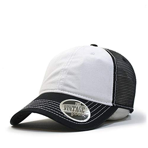 Vintage Year Washed Cotton Low Profile Mesh Adjustable Trucker Baseball Cap (Black/White/Black) - Low Profile Golf Visor