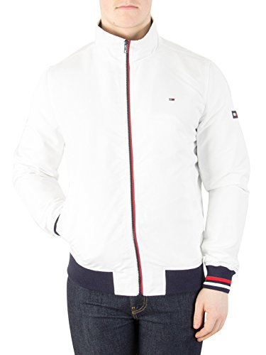 Tommy Jeans Men's Basic Casual Bomber Jacket, White, Small (Tommy Hilfiger Bomber Jacket)