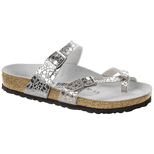 Gray Mens Sandals - Birkenstock Unisex Mayari Birko-Flor Metallic Stones Silver Gray Sandals 8 W / 6 M US