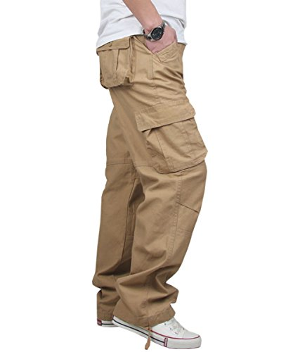 YOMAT Men's Cotton Loose Fit Cargo Workwear Pant Relaxed Fit Trousers (Cargo Loose Straight Pant)
