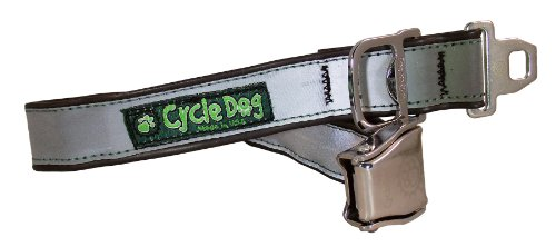 Cycle Dog Bottle Opener Recycled Dog Collar with Seatbelt Metal Buckle, Silver Max Reflective, - Buckle Basic Silver