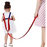 SUNTA Toddler Leash & Harness for Child Safety,2 in 1 Anti Lost Wrist Link Baby Walking Harness for 0-5 Years Kids (Blue&Red)