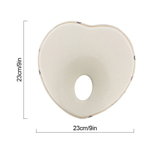 DKY Newborn/Infant Head shapping Pillow,Memory Foam Cushion for Flat Head Syndrome Prevention | Prevent Plagiocephaly | Best for Newborn Boy&Girl - Beige by DKY