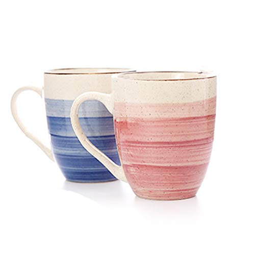 Couples Coffee Mugs Set of 2 - Couple Matching Ceramic Cups Anniversary Gifts for Boyfriend, Matching Gifts for Couples, His and Hers Gifts, Fiance Gifts for Him, Husband Gifts from Wife (Blue & Pink) (Ceramic Couple)