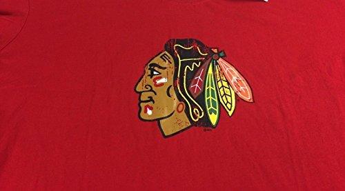 Blackhawks Chicago Womens 3X Plus Hockey Cotton Ladies T-Shirt Red Chief Logo