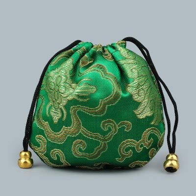 - FairOnly Pretty Floral Small Drawstring Gift Bags Sachet Satin Fabric Jewelry Bracelet Packaging Pouch Trinket Crafts Storage Pocket Green