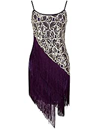 Women's Vintage 1920s Scalloped Petal Sequin Tassels Dress