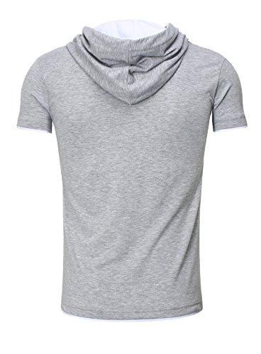 bordado Blanco capucha para Tanaka gris para corta manga camiseta hombre de hombre Akito aqRWSxH4ww
