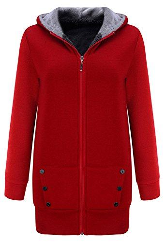 Rouge Sweat Top Hoodie Duffle Polaires Hood Haut Full Veste Coat Blouson Coton Sweat Zipp Jacket Capuche Shirt Closure Manteau Doubl Chaud Sweatshirt wnx1gUX