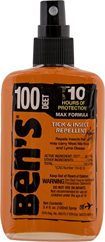 Deet 100 Insect Repellent (Ben's 0006-7081 100% DEET Mosquito, Tick and Insect Repellent, 3.4 Ounce Pump)