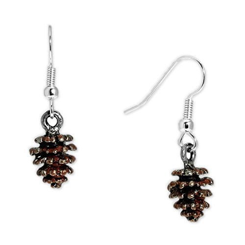 Woodsy Brown 3D Petite Pinecone Earrings in Silver Tone, Celebrate Fall, Harvest, Halloween, Thanksgiving