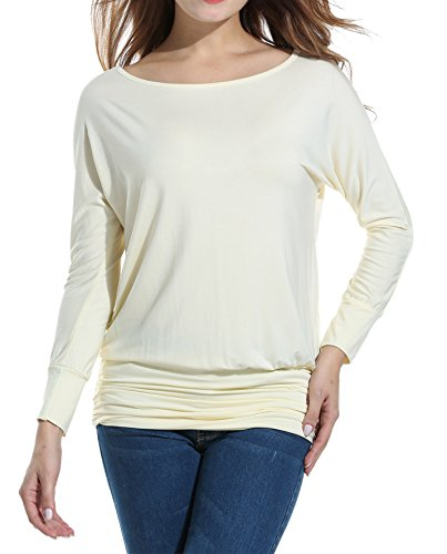 Zeagoo Womens Boat Neck Dolman Top Solid Shirring Drape Jersey Tops,Apricot,S