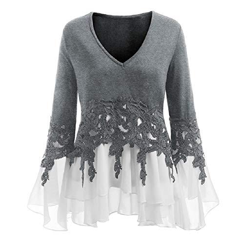 Kshion Women Ladies Casual Plus Size Applique Flowy V-Neck Long Sleeve Blouse Tops (XL, Gray) by Kshion_Women blouse