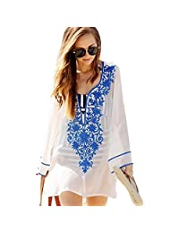 Holiday Seaside Beach Skirt Sunscreen White Embroidered Cotton V-neck Hot Spring Bathing Suit Bikini Blouse Gown Coat