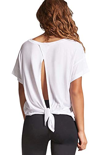 - Mippo Women's Sexy Open Back Shirt Tank Tops Tie Backk T-Shirts Workout Active Tank Tops Loose Casual Soft Knit Juniors Tops White S