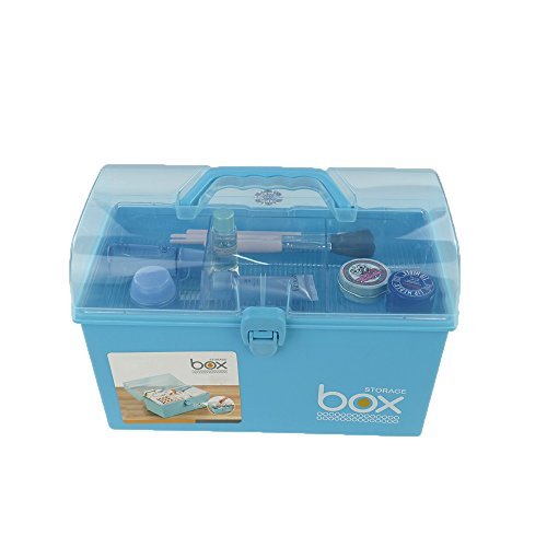 Pekky Plastic Medicine / Art Supply Craf Storage Box with Tray and Handle (blue)