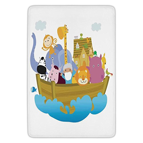 Bathroom Bath Rug Kitchen Floor Mat Carpet,Religious,Religious Story the Ark with Set of Animals in the Boat Journey Faith Cartoon,Multicolor,Flannel Microfiber Non-slip Soft Absorbent by iPrint