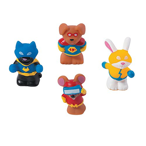 Fun Express Animal Superhero Characters | 12 Count | Great for Pet Themed Party, Birthday Favor & Giveaway, Classroom Supply, Toy Collection, Behavior - Superhero Animal