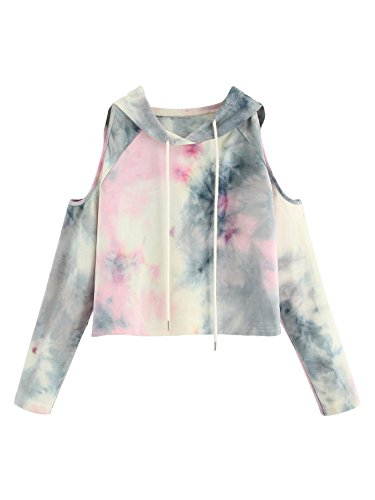 SweatyRocks Women's Cold Shoulder Tie Dye Pullover Hoodie Crop Top Sweatshirt