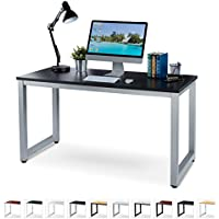 """Office Computer Desk - 55"""" x 23"""" Black Laminated Wooden Particleboard Table and Gray Powder Coated Steel Frame - Work or Home - Easy Assembly - Tools and Instructions Included - by Luxxetta"""