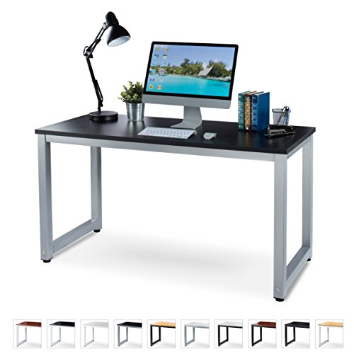 """Office Computer Desk – 55"""" Black Laminated Wooden Particleboard Table and Gray Powder Coated Steel Frame - Work or Home – Easy Assembly - Tools and Instructions Included – by Luxxetta"""