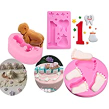 stbeyond Baby Cake Fondant Mold, 3D Silicone Baby Feet, Sleeping Baby, Baby One-year-old Birthday Theme Cake Decorating Mold Chocolate Mold Baking Tool, Set of 3