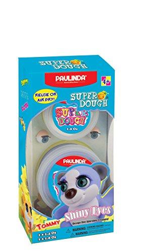 Natural Modeling Dough - Paulinda Super Dough Shiney Eyes Kit, Natural Non-Toxic Modeling Dough, Makes 1 Assorted Figure (081377-D)