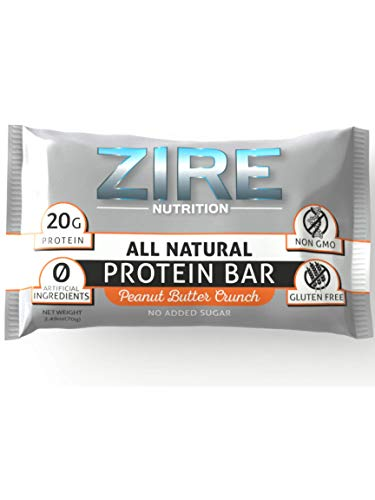 Zire Natural Peanut Butter Crunch Protein Bars - 20g Protein w/Whey Protein Isolate - Low Sugar, High Protein Snacks, Meal Replacement Bars - Gluten Free, Non-GMO, No Artificial Ingredients (9 Bars)