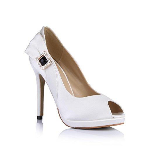 KUKIE Best 4U? Sandalias de mujer zapatos de boda verano de seda sintética peep puntera Rhinestone 9 cm tacón alto suela de goma bombas blanco