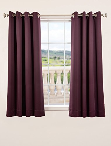 "picture of Half Price Drapes BOCH-201301-63-GR Grommet Blackout Curtain, 63"", Aubergine"