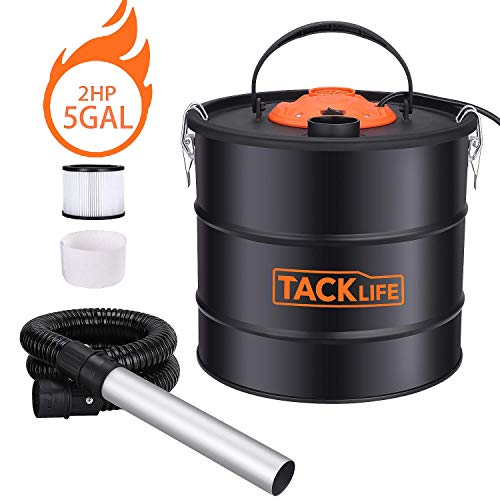 TACKLIFE Advanced Ash Vacuum Cleaner, 5Gal 3.3ft Hose, 7.9in Aluminum Tube, Debris/Ash Collector, 2HP 120V, Suitable for Cleaning Carbon Stoves/Barbecues/Braziers/Fireplaces HXPVC03A (Hose Vacuum Ash)