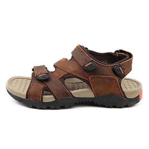 Stay With Me Sandal Men Sandals Summer Leather Sandals Men Outdoor Shoes Male Leather Shoes,Dark BORWN,9 -