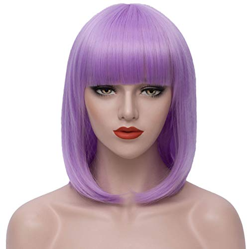 Short Purple Bob Wigs for Women 14'' Straight Hair Wigs with Bangs Synthetic Pastel Colored Cosplay Wig with Wig Cap (Light Purple) P048LP