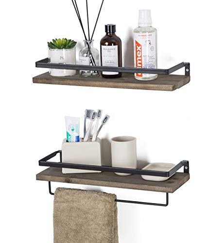 SODUKU Floating Shelves Wall Mounted Storage Shelves for Kitchen, Bathroom,Set of 2 Brown (Wall Bathroom Shelf)