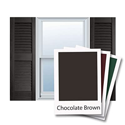 "12"" x 43"" Builders Choice Vinyl Open Louver Window Shutters, w/Shutter Spikes & Screws (Per Pair), Chocolate Brown"