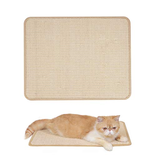Hesiry Cat Scratching Pad, Cat Scratcher with Natural Sisal, Pet Couch Furniture Protector/Cat Lounger/Pet Carpet Three Functions