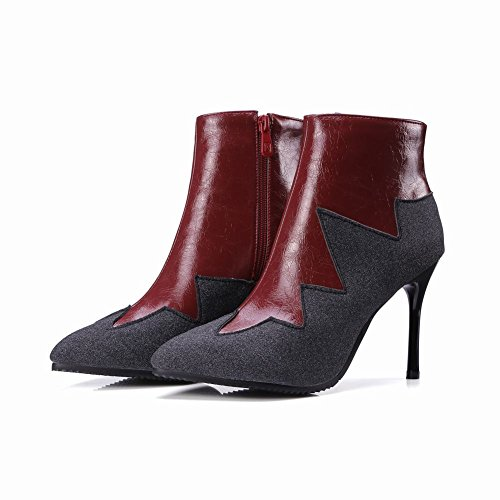 Latasa Mujer's Pointed-toe Stiletto High Heels Botines Botines Claret-red