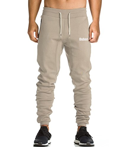 Ouber Men's Workout Joggers Sweat Pants with Zipper Pocket(Light Kahki,L)